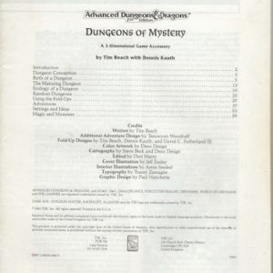 AD&D – Dungeons of Mystery – Book only!