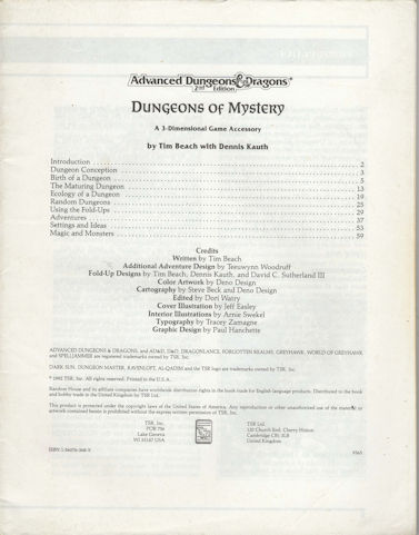 AD&D - Dungeons of Mystery - Book only!