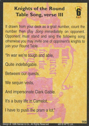 Knight of the Round Table Song, verse III - Monty Python and the Holy Grail CCG