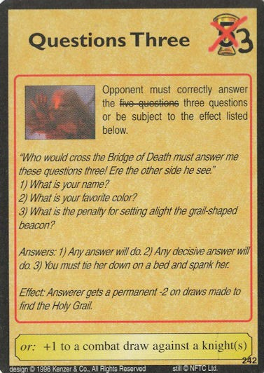 Questions Three - grail-shaped beacon - Monty Python and the Holy Grail CCG