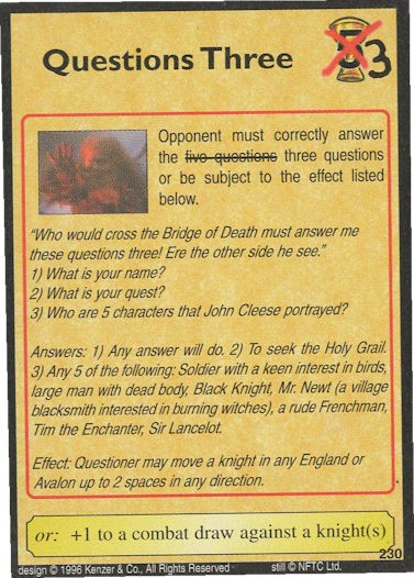 Questions Three - John Cleese - Monty Python and the Holy Grail CCG