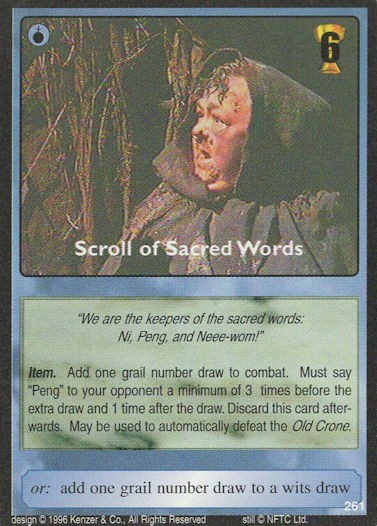Scroll of Sacred Words - Monty Python and the Holy Grail CCG