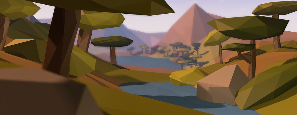 Image of a low-poly 3d landscape by Jochem Oogink