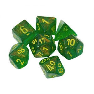 Chessex – Borealis – Maple Green/Yellow – Polyhedral 7-Die set