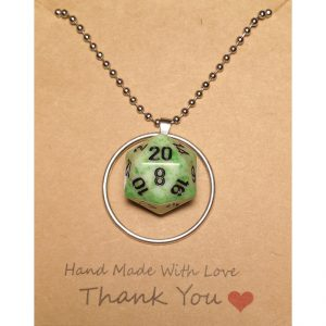 D20 Necklace – Green Synergy – Handmade