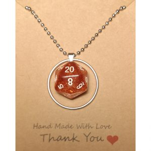 D20 Necklace – Hot Lava – Handmade