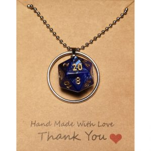 D20 Necklace – Mystical Blue – Handmade