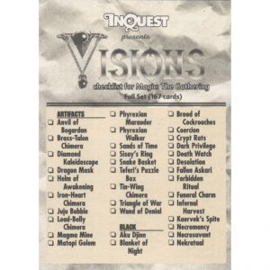 InQuest Visions Checklist